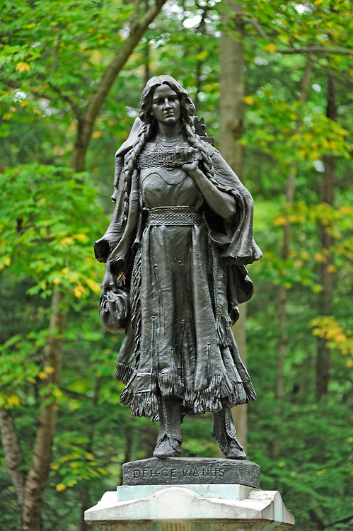 Mary Jenison Statue, Seneca Council House, Letchworth State Park, New York, USA