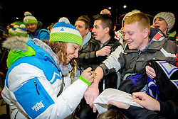 Ilka Stuhec at reception of Slovenia team arrived from Winter Olympic Games Sochi 2014 on February 19, 2014 at Airport Joze Pucnik, Brnik, Slovenia. Photo by Vid Ponikvar / Sportida