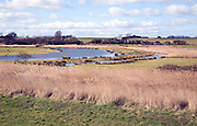 Flooded wetland fields RSPB nature reserve Boyton, Suffolk