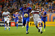 Kendall Waston (2) of FC Cincinnati shields the ball away from Nemanja Nikolic (23) of the Chicago Fire during a MLS soccer game, Saturday, September 21, 2019, in Cincinnati, OH. Chicago tied Cincinnati 0-0. (Jason Whitman/Image of Sport)