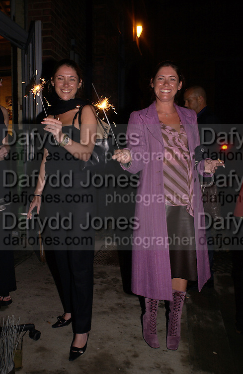 Jane and Louise Wilson. Buffalo and Pig. Fundraiser at the Wapping project. Wapping Hydrolic power station. 30 August 2001. © Copyright Photograph by Dafydd Jones 66 Stockwell Park Rd. London SW9 0DA Tel 020 7733 0108 www.dafjones.com