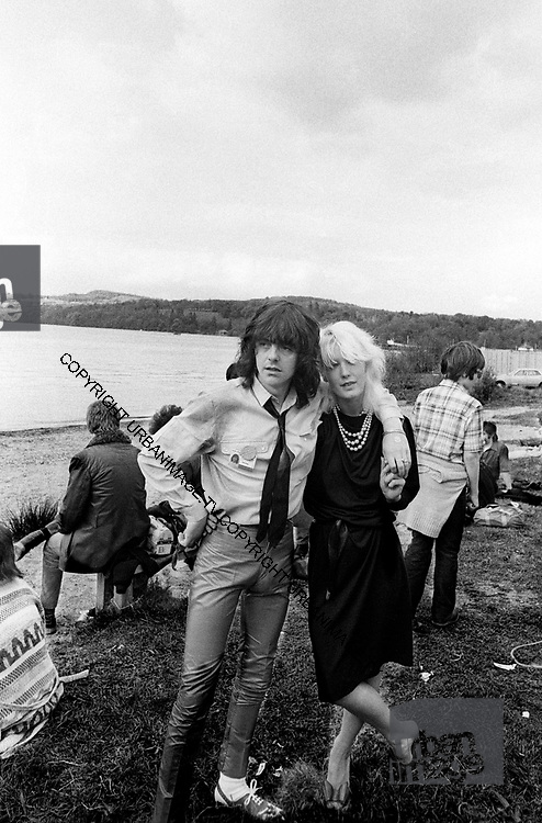 Paula Yates and friend - The Loch Lomond Rock Festival 1979