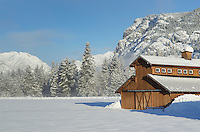 Methow Valley Washington farm with barn in winter