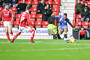 Gillingham's Ryan Jackson shoots and scores his teams 3rd goal during the Sky Bet League 1 match between Swindon Town and Gillingham at the County Ground, Swindon, England on 26 December 2015. Photo by Shane Healey.