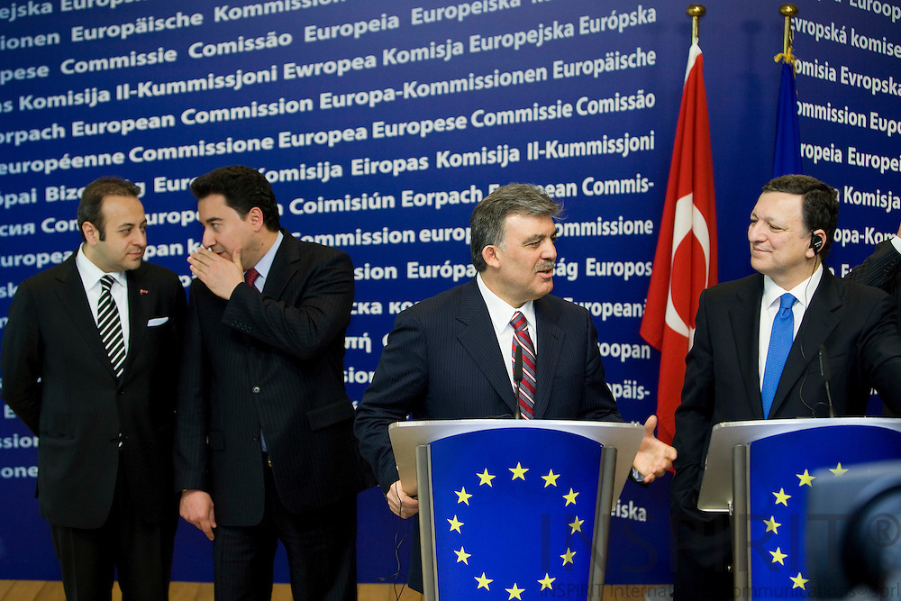 BRUSSELS - BELGIUM - 26 MARCH 2009 -- Turkey's President Abdullah Gul (C) hold a joint news conference with European Commission President Jose Manuel Barroso (2nd R) while Turkey's chief EU negotiator Egemen Bagis (L) and Turkey's Foreign Minister Ali Babacan (2nd L) stand behind at the EC headquarters in Brussels. Gul is on a one-day visit to Belgium. Photo: Erik Luntang