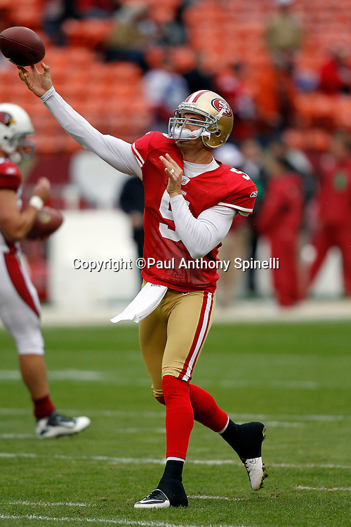 San Francisco 49ers quarterback David Carr (5) throws a pregame pass during the NFL week 17 football game against the Arizona Cardinals on Sunday, January 2, 2011 in San Francisco, California. The 49ers won the game 38-7. (©Paul Anthony Spinelli)