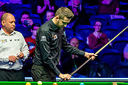 Mark Selby prepares to take on an in form Ronnie O'Sullivan in the Quarter Final of the 19.com Home Nations Scottish Open at the Emirates Arena, Glasgow, Scotland on 13 December 2019.