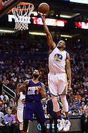 Feb 10, 2016; Phoenix, AZ, USA; Golden State Warriors forward Andre Iguodala (9) lays up the ball in front of Phoenix Suns forward Markieff Morris (11) at Talking Stick Resort Arena. The Golden State Warriors won 112-104. Mandatory Credit: Jennifer Stewart-USA TODAY Sports