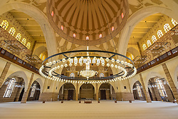 Ornate interior of Al Fateh Grand Mosque in Kingdom of Bahrain