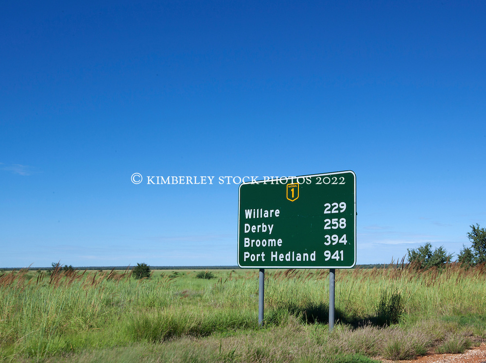 Roadsign just outside the township of Fitzroy Crossing.