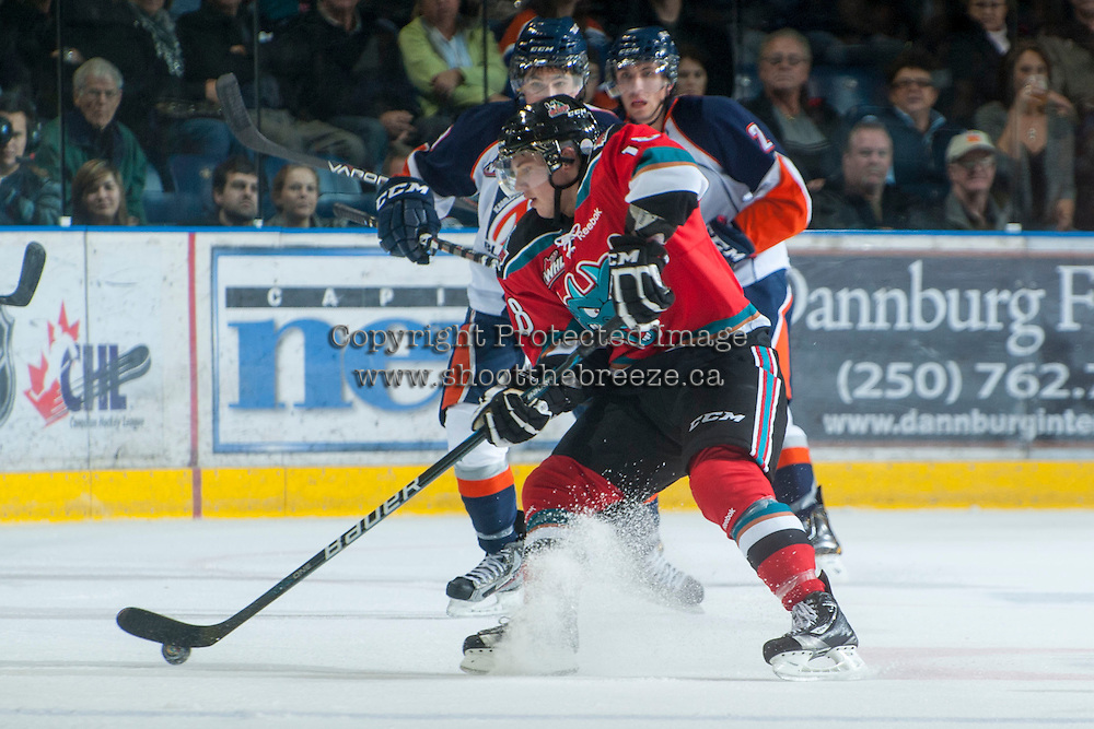 KELOWNA, CANADA - NOVEMBER 1:  Cody Fowlie #18 of the Kelowna Rockets skates on the ice against the  Kamloops Blazers at the Kelowna Rockets on November 1, 2012 at Prospera Place in Kelowna, British Columbia, Canada (Photo by Marissa Baecker/Shoot the Breeze) *** Local Caption ***