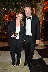 ANYA HINDMARCH and JAMES SEYMOUR at the inaugural dinner for The Queen Elizabeth Scholarship Trust hosted by Viscount Linley at the V&A museum, London on 25th February 2016.