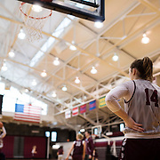 December 16, 2016 - New York, NY : Danielle Padovano, a senior forward for the Fordham University Women's Basketball Team, foreground, practices with the team in Rose Hill Gymnasium on Friday. CREDIT: Karsten Moran for The New York Times
