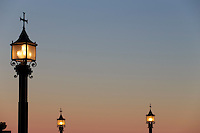 Lanterns alight at sunset at Montserrat, a Benedictine monastery on the outsirts of Barcelona, Spain