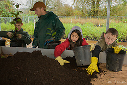 United States, Washington, Issaquah,children planting tree seedlings, Social Venture Partners community service project with Mountains to Sound Greenway Trust.   MR