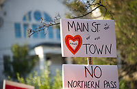 Town meeting with opposition to Northern Pass on Main St., Plymouth, NH, Karen Bobotas for the Laconia Daily Sun
