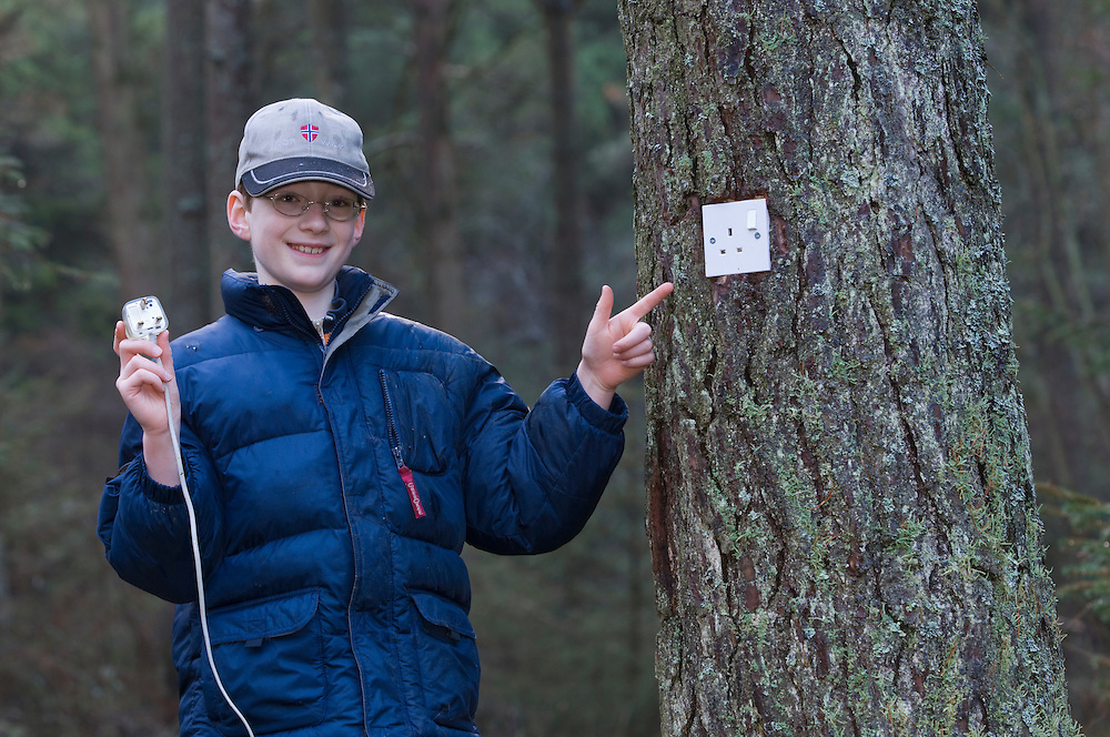 Boy putting plug into a socket in a pine tree