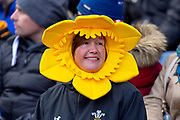 A Welsh rugby fan during the Guinness Six Nations match between Scotland and Wales at BT Murrayfield Stadium, Edinburgh, Scotland on 9 March 2019.
