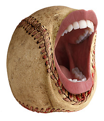teeth 010 Screaming baseball with teeth, lips, mouth