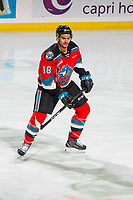 KELOWNA, BC - NOVEMBER 26: Jadon Joseph #18 of the Kelowna Rockets warms up on the ice for his first game as a Rocket against the Edmonton Oil Kings at Prospera Place on November 26, 2019 in Kelowna, Canada. (Photo by Marissa Baecker/Shoot the Breeze)