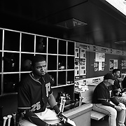 Gregory Polanco, Pittsburgh Pirates, in the dugout preparing to bat during the New York Mets Vs Pittsburgh Pirates MLB regular season baseball game at Citi Field, Queens, New York. USA. 16th August 2015. Photo Tim Clayton