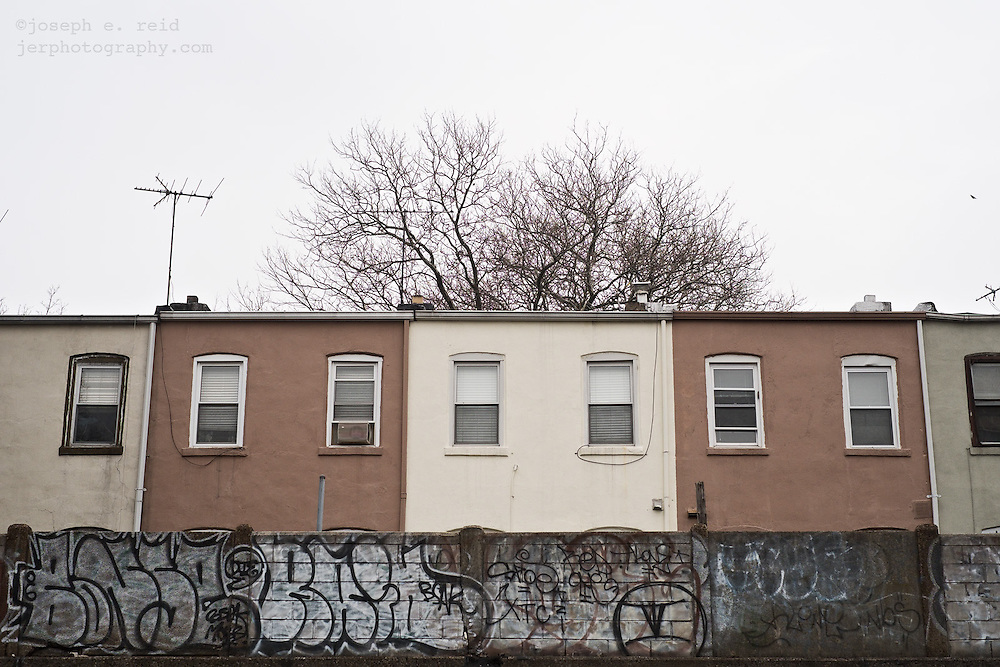 Back of rowhouses, Brooklyn, NY, US