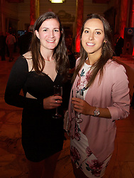 CARDIFF, WALES - Monday, October 5, 2015: Wales' Helen Ward and Melissa Fletcher during the FAW Awards Dinner Dinner at Cardiff City Hall. (Pic by David Rawcliffe/Propaganda)