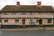 Museum in medieval half timbered historic building, Laxfield, Suffolk, England, UK