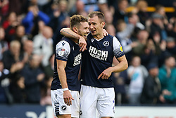 Tom Bradshaw of Millwall and Jed Wallace of Millwall celebrate at the final whistle - Mandatory by-line: Arron Gent/JMP - 05/10/2019 - FOOTBALL - The Den - London, England - Millwall v Leeds United - Sky Bet Championship