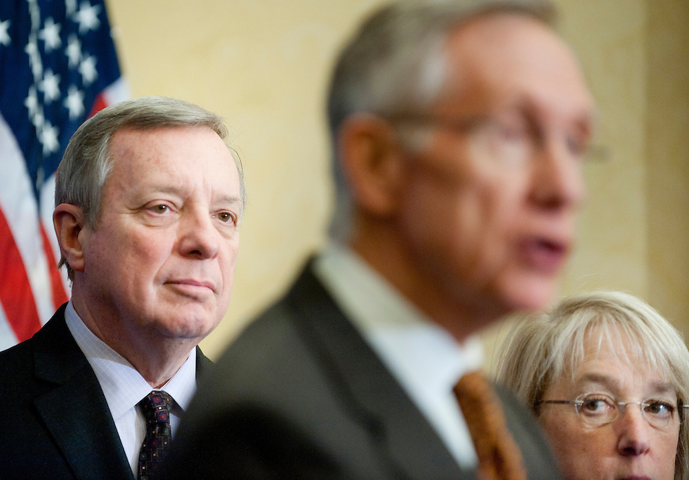 "Feb 3, 2011 - Washington, District of Columbia, U.S. - Senate Assistant Majority Leader DICK DURBIN, (D-IL) and Senator PATTY MURRAY (D-WA)listen as Senate Majority Leader HARRY REID (D-NV) speaks to the media during a news conference to ""urge Republicans to join in a responsible approach to deficit reduction, and drop threats to force a government shutdown that would have disastrous consequences for the economy.""(Credit Image: © Pete Marovich/ZUMA Press)"