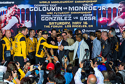 "INGLEWOOD, CA - MAY 15: Undefeated WBA middleweight champion Gennady ""GGG"" Golovkin  (32-0-0, 29 KOs) and  Contender Willie Monroe Jr. (19-1-0, 6 KOs) stopped the scale at 159lbs and 160lbs respectively.  For their bout Golovkin vs Monroe on May 16, 2015 at the Forum in Los Angeles, California and telecast on HBO Word Championship Boxing beginning at 10:00pm ET/PT. 2015 May 15. Byline, credit, TV usage, web usage or linkback must read SILVEXPHOTO.COM. Failure to byline correctly will incur double the agreed fee. Tel: +1 714 504 6870."