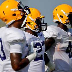 Aug 8, 2013; Baton Rouge, LA, USA; LSU Tigers running back Jeremy Hill (33) and running back Kenny Hilliard (27) and LSU Tigers running back Alfred Blue (4) during a fall practice at the McClendon Practice Facility. Mandatory Credit: Derick E. Hingle-USA TODAY Sports