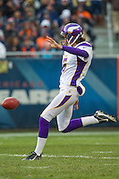 25 November 2012: Punter (5) Chris Kluwe of the Minnesota Vikings punts the ball against the Chicago Bears during the second half of the Bears 28-10 victory over the Vikings in an NFL football game at Soldier Field in Chicago, IL.