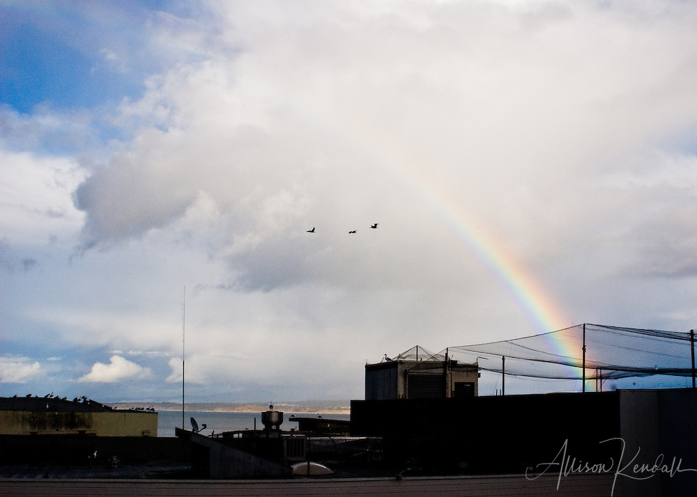 A winter storm casts a colorful rainbow across the rooftops of Cannery Row, with the water of Monterey Bay in the distance.