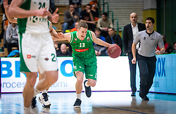13# Miha Lapornik of KK Petrol Olimpija Ljubljana, during the basketball match of Nova KBM League between KK Petrol Olimpija Ljubljana and KK Krka Novo mesto, on February 27, 2019, in Novo mesto, Slovenia. Photo by Urban Meglic / Sportida
