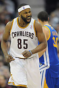 March 8, 2011; Cleveland, OH, USA; Cleveland Cavaliers point guard Baron Davis (85) celebrates after hitting a three-point-shot during the third quarter against the Golden State Warriors at Quicken Loans Arena. The Warriors beat the Cavaliers 95-85. Mandatory Credit: Jason Miller-US PRESSWIRE