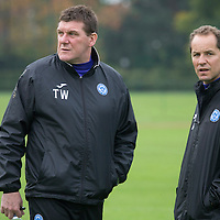 St Johnstone Manager Tommy Wright pictured at training this morning with coach Alec Cleland....17.10.13<br /> Picture by Graeme Hart.<br /> Copyright Perthshire Picture Agency<br /> Tel: 01738 623350  Mobile: 07990 594431