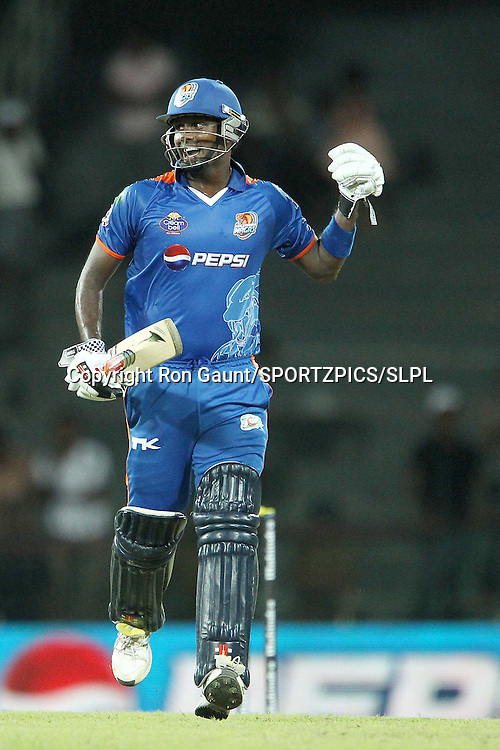 Angelo Mathews celebrates the win during match 5 of the Sri Lankan Premier League between Kandurata Warriors and Nagenahira Nagas held at the Premadasa Stadium in Colombo, Sri Lanka on the 13th August 2012<br />  <br /> Photo by Ron Gaunt/SPORTZPICS/SLPL