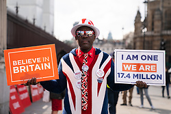 © Licensed to London News Pictures. 03/04/2019. London, UK. A pro-Brexit demonstrator in Westminster. Yesterday evening British Prime Minister Theresa May made a statement in Downing Street offering to go into talks with Leader of the Labour Party Jeremy Corbyn, following the announcement of a request for an extension to article 50, thereby delaying Britain leaving the European Union. Photo credit : Tom Nicholson/LNP