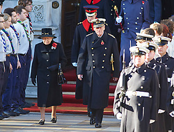 The Queen and Prince Phillip during the annual Remembrance Sunday Service at the Cenotaph, Whitehall, London, United Kingdom. Sunday, 10th November 2013. Picture by i-Images