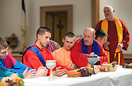 Cast members, from left, John Loux, Louise Torres (as Jesus), Bill Bohner (not seen), Neil Stettler, Mitchell Hendricks, Mike Helsey and John Schlupp rehearse the Last Supper at Trinity Lutheran Church Monday March 30, 2015 in Quakertown, Pennsylvania. The group will perform the Last Supper Thursday at 7p as they have done for the past 14 years. (Photo by William Thomas Cain/Cain Images)