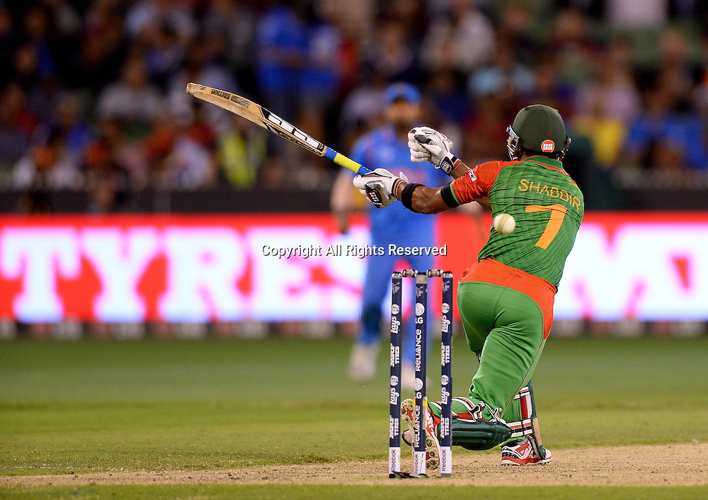 Shabbir Rahman Roman (Bang)<br /> India vs Bangladesh / Qtr Final 2<br /> 2015 ICC Cricket World Cup<br /> MCG / Melbourne Cricket Ground <br /> Melbourne Victoria Australia<br /> Thursday 19 March 2015<br /> &copy; Sport the library / Jeff Crow