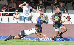 Durban. 100318. Durban. 100318. Makazole Mapimpi of the Cell C Sharks during the Super Rugby match between Cell C Sharks and Sunwolves at Jonsson Kings Park Stadium on March 10, 2018 in Durban, South Africa Picture Leon Lestrade/African News Agency/ ANA