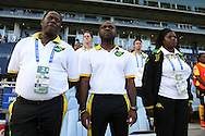 16 October 2014: Jamaica head coach Merron Gordon (JAM) (center) with his assistant coaches. The Jamaica Women's National Team played the Martinique Women's National Team at Sporting Park in Kansas City, Kansas in a 2014 CONCACAF Women's Championship Group B game, which serves as a qualifying tournament for the 2015 FIFA Women's World Cup in Canada. Jamaica won the game 6-0.