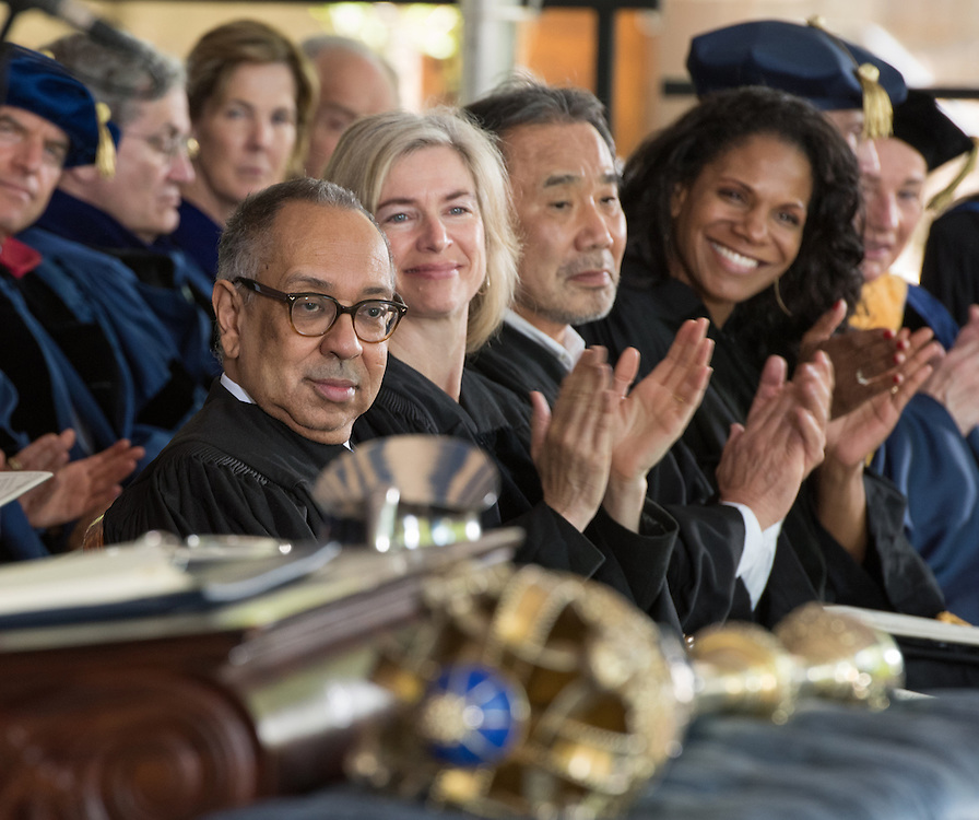 May 23, 2016 New Haven<br /> The Yale University commencement exercises. Honorary doctoral degree recipients from left: George C. Wolfe, Jennifer Doudna, Haruki Murakami, Audra McDonald.