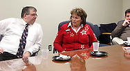 (from left) Dr. Tony Corvo of Beavercreek, Kelly Kohls of Springboro and George LeBoeuf of Oakwood during a roundtable discussion of the Republican debate in Arizona, Wednesday, February 22, 2012.