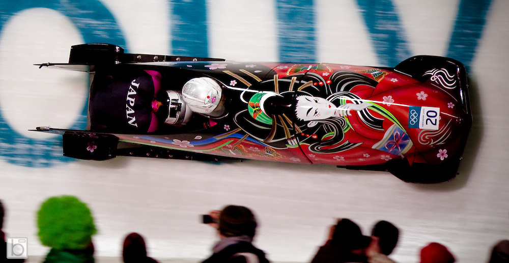 The Japan 1 woman's bobsled driven by Manami Hino with Konomi Asazu on the breaks in the 2010 Winter Olympics Woman Bobsled competition at the Whistler Sliding Center in Whistler, BC, Canada. (Photo/Todd Bissonette - www.usabobsledphotos.com)