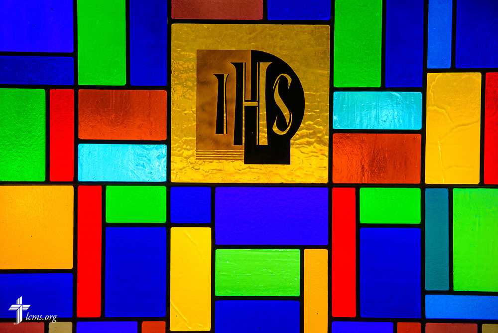 Stained glass depicting IHS at Zion Lutheran Church, Worms, Neb., on Saturday, Sept. 23, 2017. LCMS Communications/Erik M. Lunsford