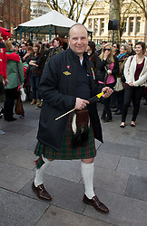 CARDIFF, WALES - Thursday, March 1, 2012: Members of the Football Association of Wales take part in the 10th St. David's Day Parade through the streets of Cardiff. FAW's Chief-Executive Jonathan Ford. (Pic by David Rawcliffe/Propaganda)
