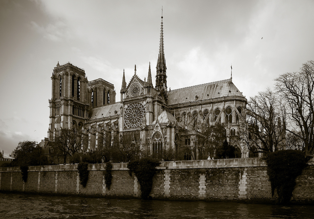 Notre Dame Cathedral with the River Seine in the foreground. Ile de la Cite, Paris, France.